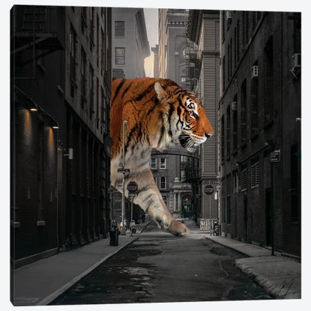 Tiger In NY I Canvas Print #KFD123} by Kathrin Federer Canvas Artwork