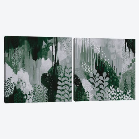Green Forest Diptych Canvas Print Set #KFE2HSET001} by Kathy Ferguson Canvas Art Print