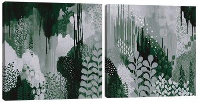 Green Forest Diptych Canvas Art Print
