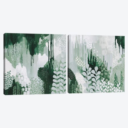 Light Green Forest Diptych Canvas Print Set #KFE2HSET002} by Kathy Ferguson Canvas Art Print