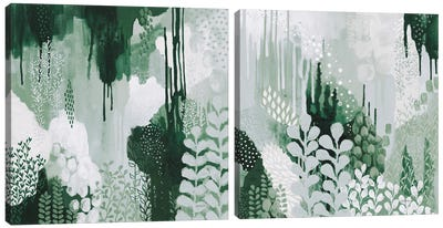Light Green Forest Diptych Canvas Art Print