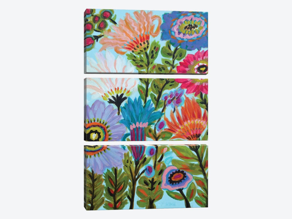 Secret Garden Floral IV by Karen Fields 3-piece Canvas Art
