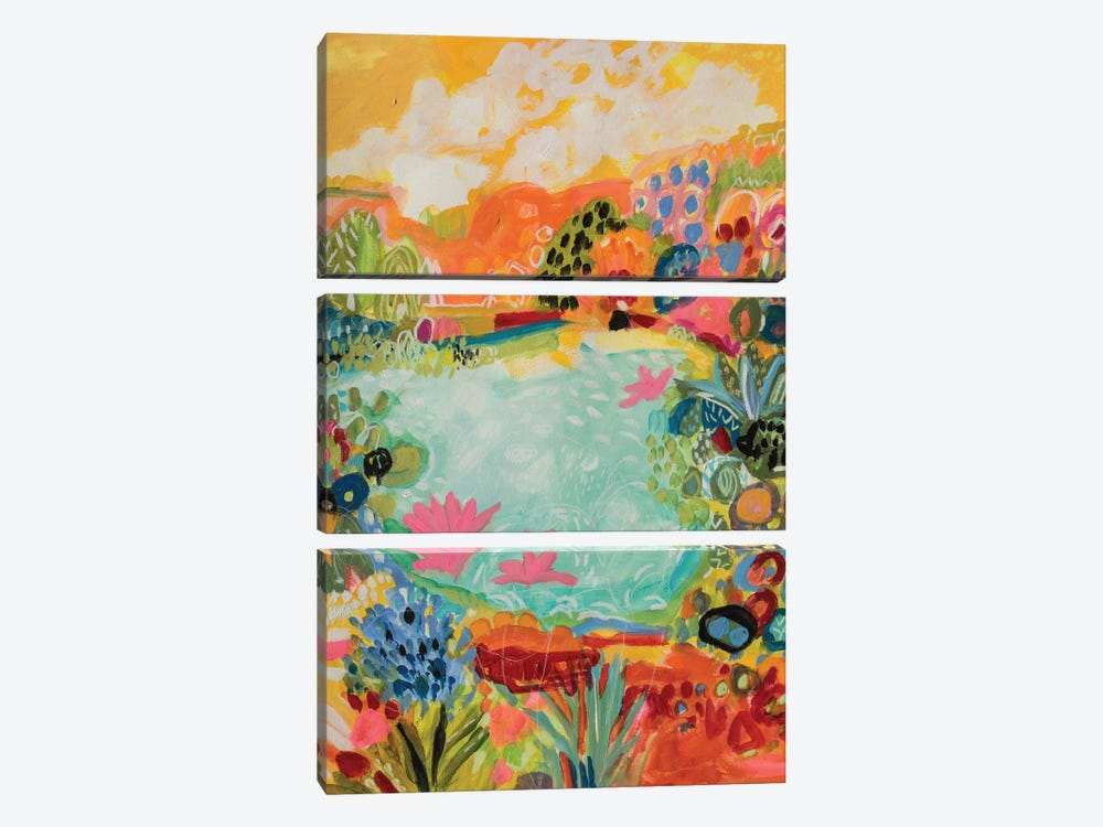 Whimsical Pond I by Karen Fields 3-piece Canvas Art Print