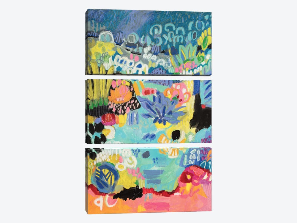 Whimsical Pond III by Karen Fields 3-piece Art Print