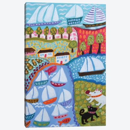 Dogs & Sailboats Canvas Print #KFI36} by Karen Fields Canvas Art Print