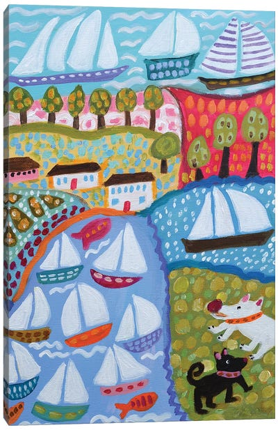 Dogs & Sailboats Canvas Art Print