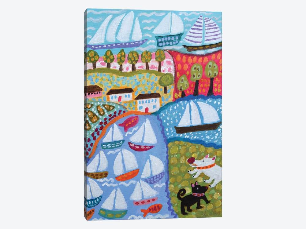 Dogs & Sailboats by Karen Fields 1-piece Canvas Art Print