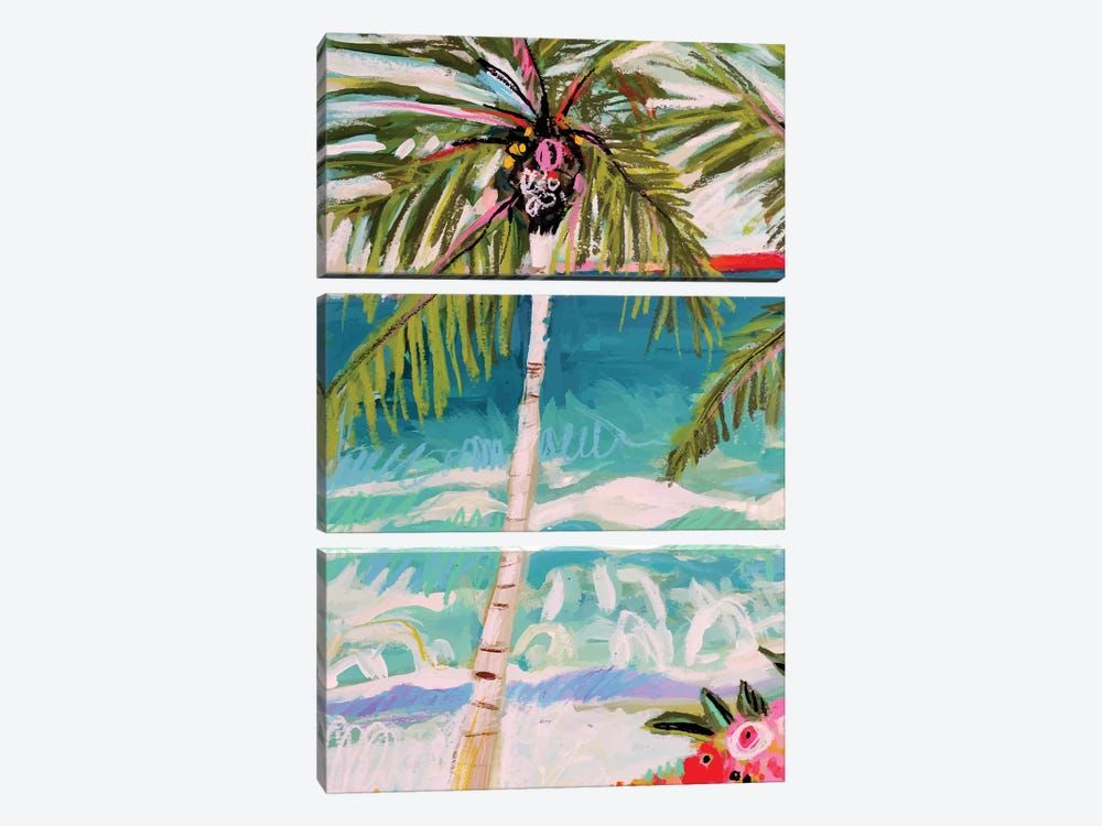 Palm Tree Whimsy I by Karen Fields 3-piece Canvas Art