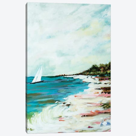 Beach Surf I Canvas Print #KFI5} by Karen Fields Canvas Artwork