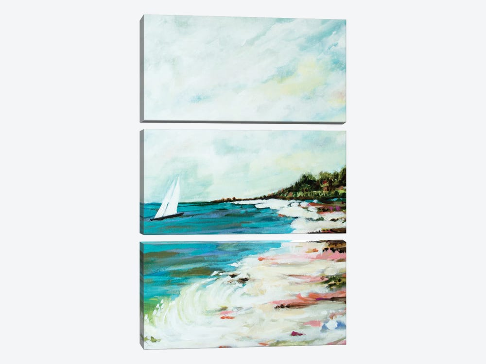 Beach Surf I by Karen Fields 3-piece Canvas Wall Art