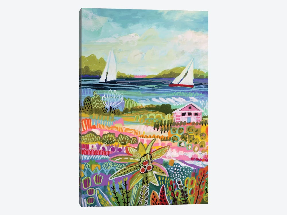 Two Sailboats And Cottage I by Karen Fields 1-piece Canvas Print