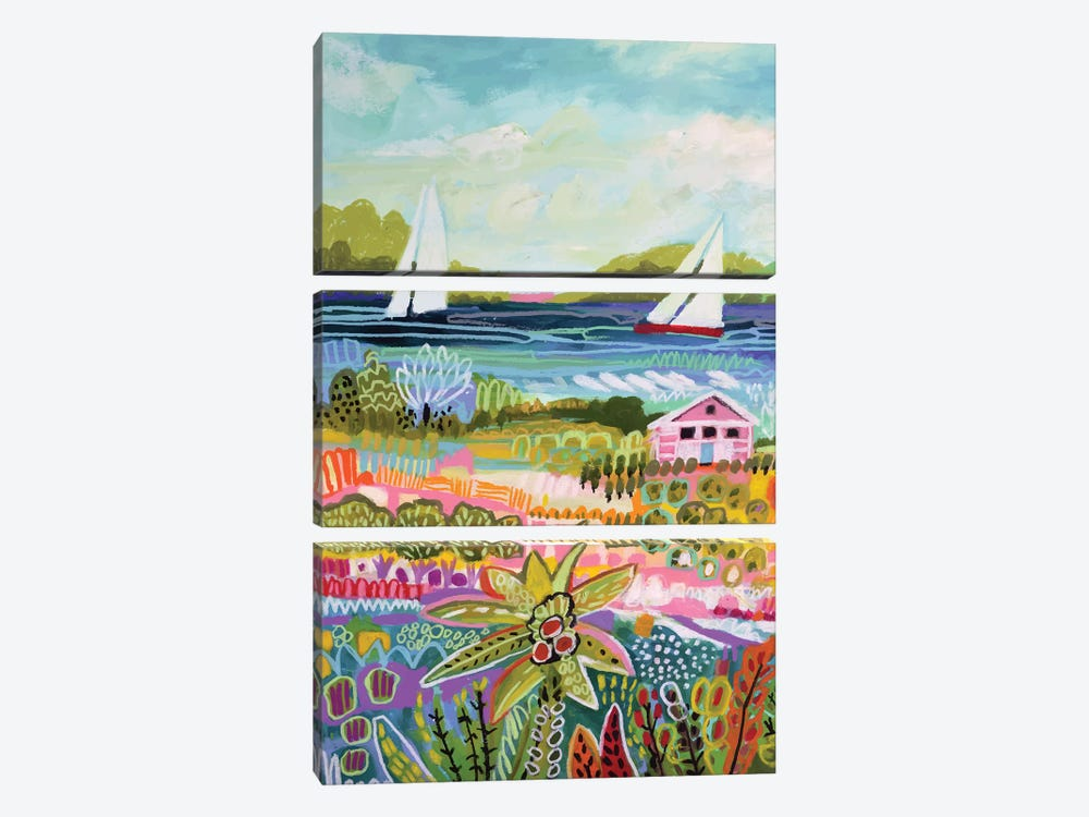Two Sailboats And Cottage I by Karen Fields 3-piece Canvas Art Print