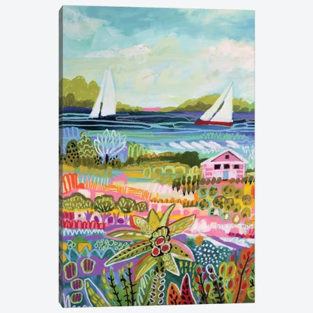 Two Sailboats And Cottage I Canvas Print #KFI63} by Karen Fields Canvas Art Print