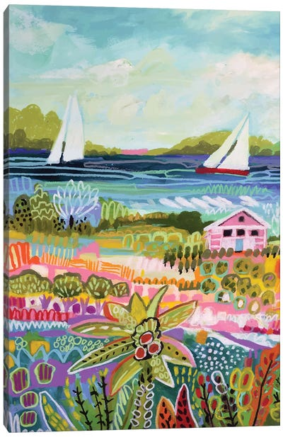 Two Sailboats And Cottage I Canvas Art Print