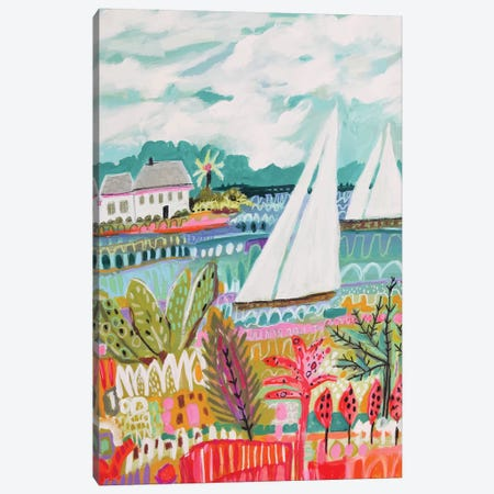 Two Sailboats And Cottage II Canvas Print #KFI64} by Karen Fields Canvas Wall Art