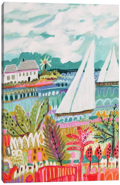 Two Sailboats And Cottage II Canvas Art Print