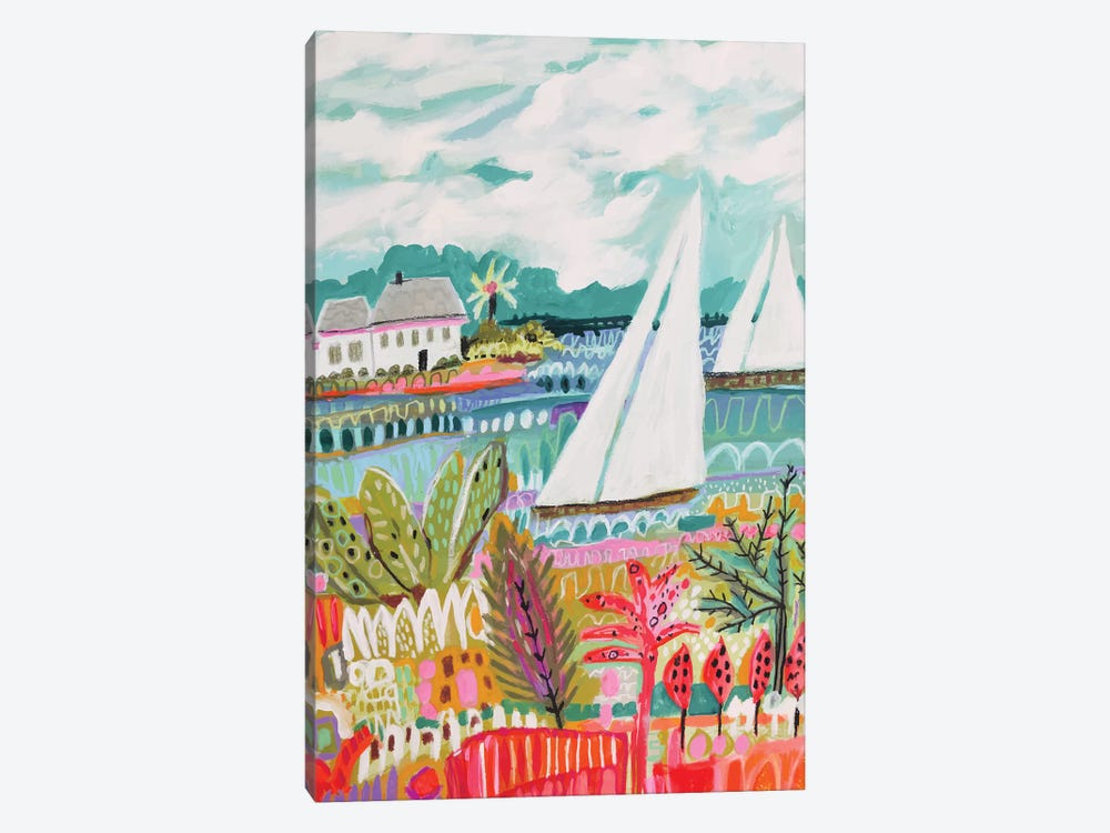 Two Sailboats And Cottage II by Karen Fields 1-piece Canvas Art