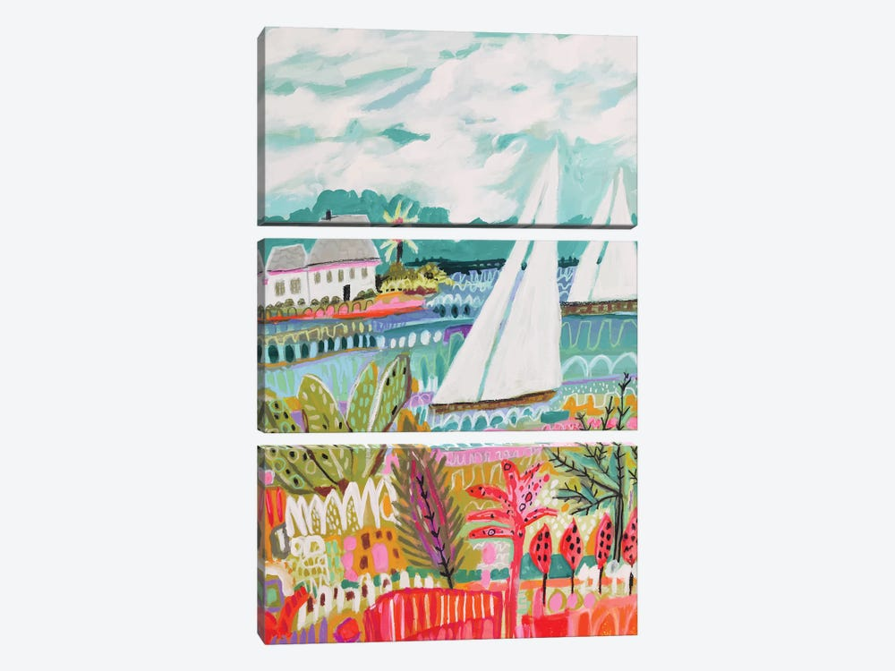 Two Sailboats And Cottage II by Karen Fields 3-piece Canvas Wall Art