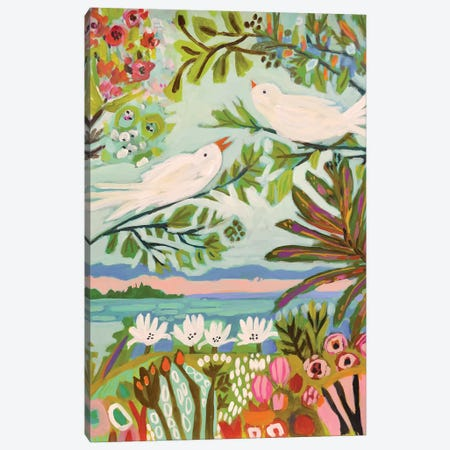 Birds In The Garden I Canvas Print #KFI65} by Karen Fields Canvas Artwork