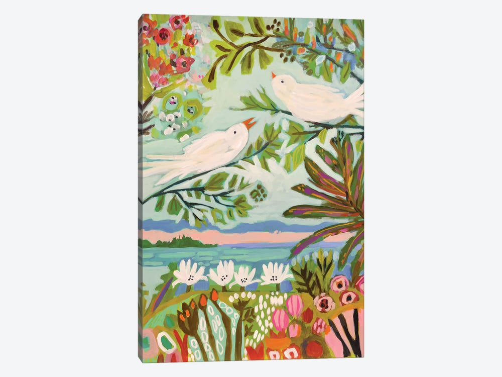 Birds In The Garden I by Karen Fields 1-piece Canvas Art Print
