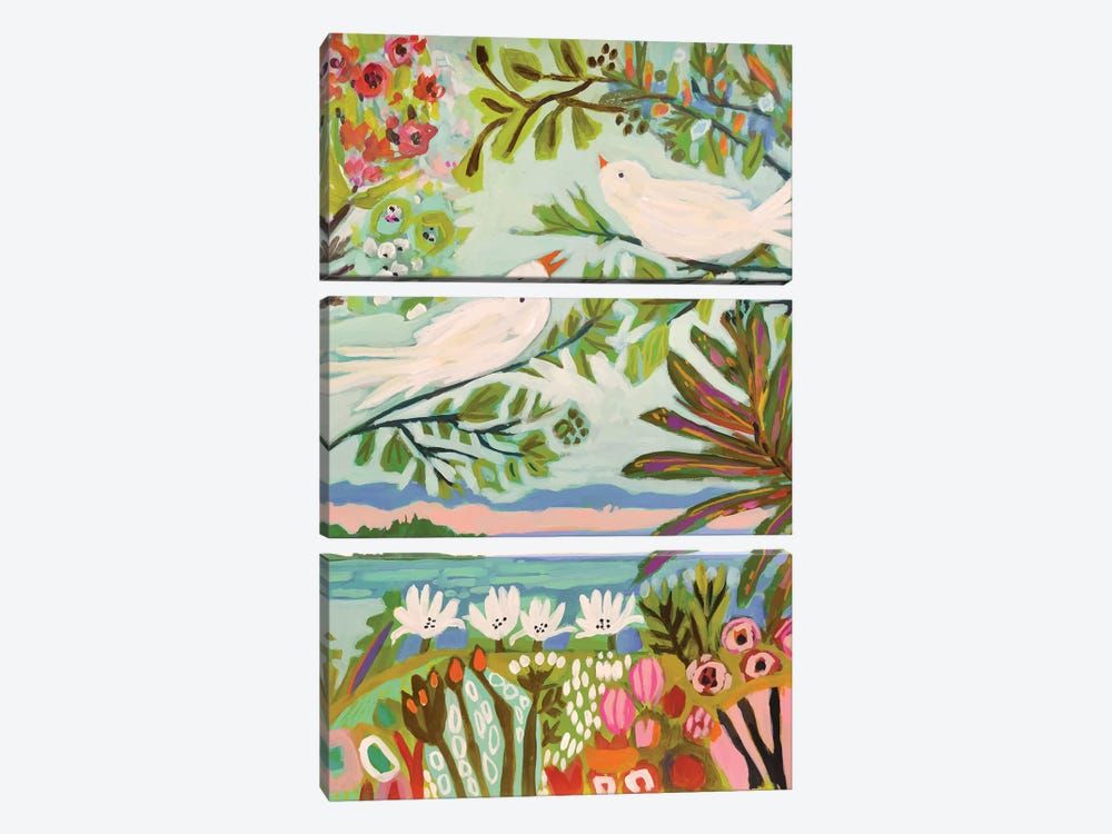 Birds In The Garden I by Karen Fields 3-piece Canvas Print