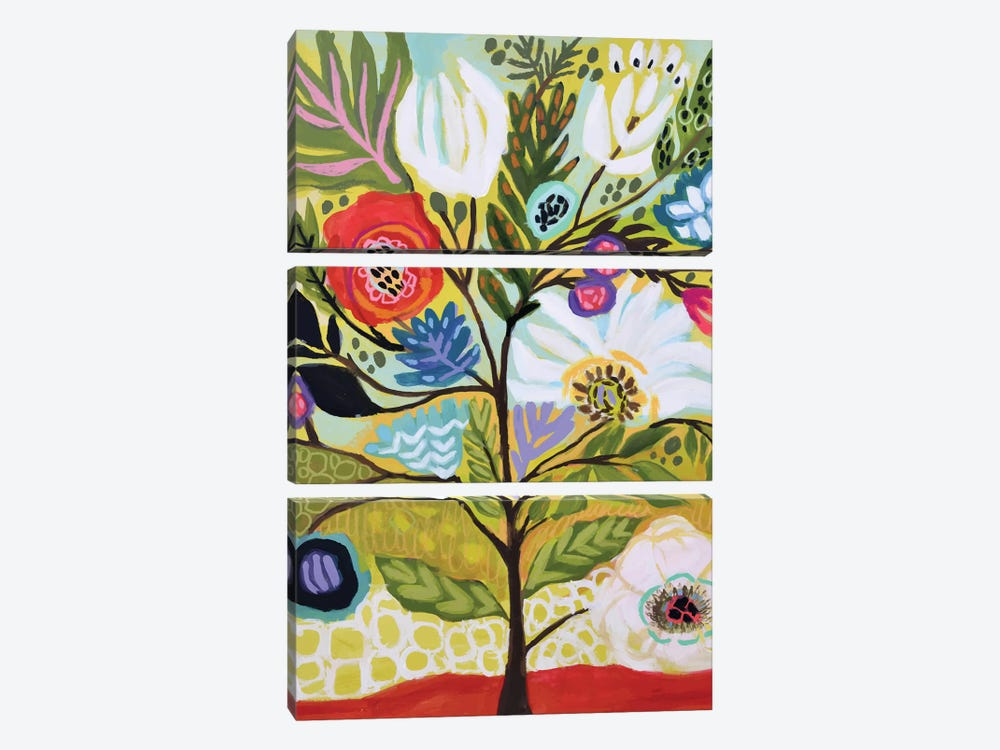 Flower Tree I by Karen Fields 3-piece Canvas Print
