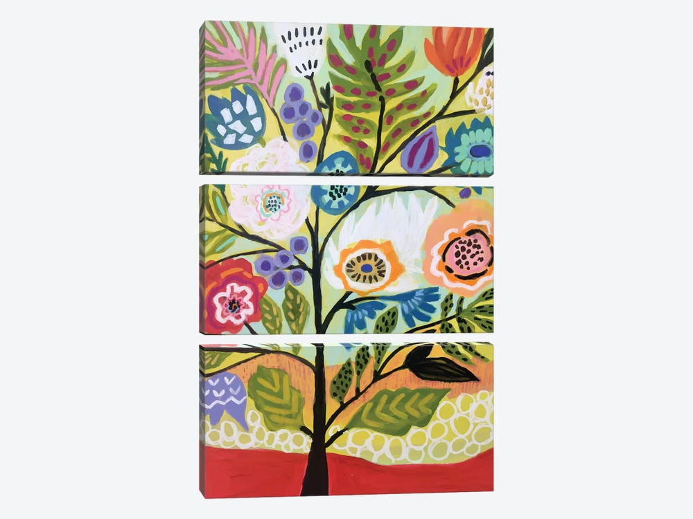 Flower Tree II by Karen Fields 3-piece Canvas Wall Art