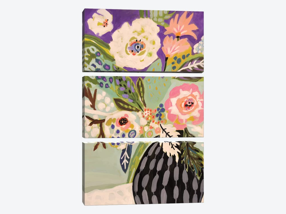 Fresh Flowers In Vase I by Karen Fields 3-piece Canvas Art Print