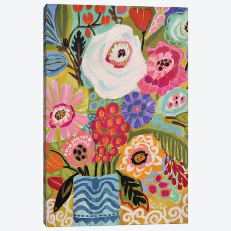 Fresh Flowers In Vase II Canvas Print #KFI70} by Karen Fields Canvas Wall Art