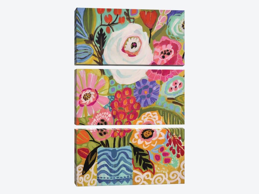 Fresh Flowers In Vase II by Karen Fields 3-piece Canvas Print