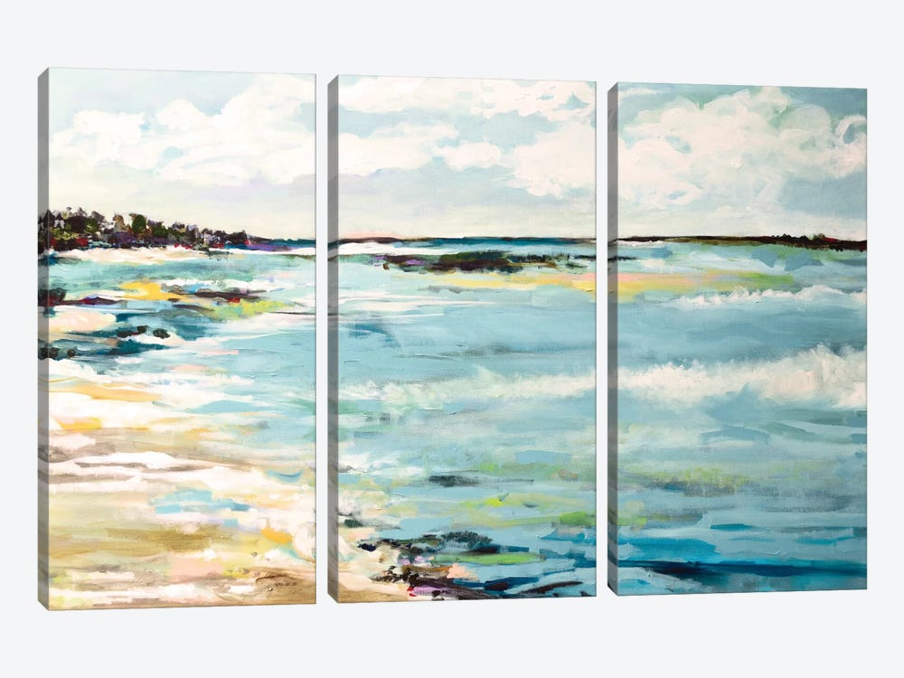 Beach Surf III by Karen Fields 3-piece Canvas Wall Art