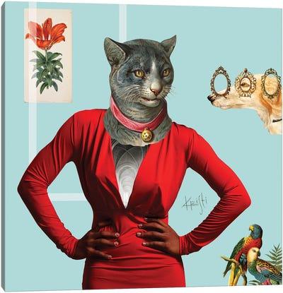 Drama Cat Canvas Art Print
