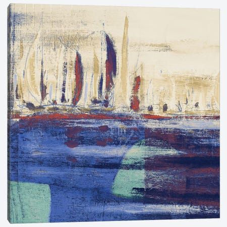 Blue Calm Waters Square I Canvas Print #KGS5} by Kingsley Canvas Art