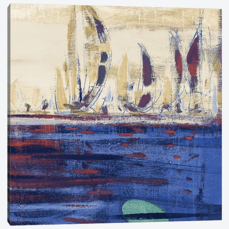 Blue Calm Waters Square II Canvas Print #KGS6} by Kingsley Canvas Wall Art