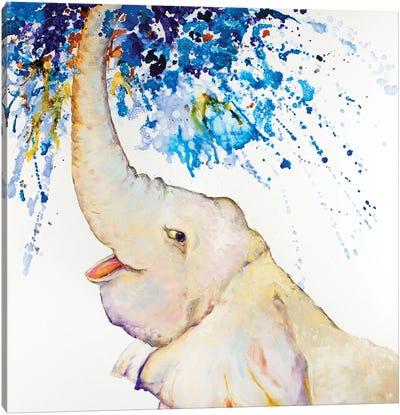 Splish Splash Elephant At Play Canvas Art Print