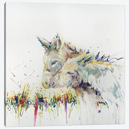Snuggle Buddys Donkey Canvas Print #KGU16} by Kim Guthrie Canvas Art