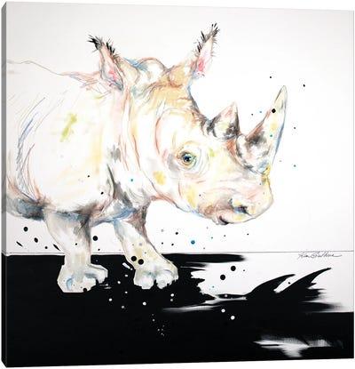 Baby Rhino Sees His Shadow Canvas Art Print