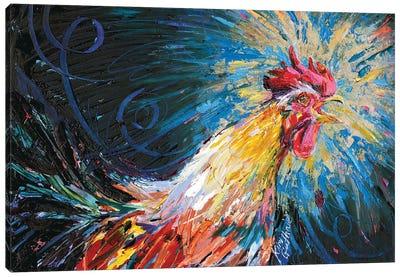 Good Morning Rooster Oil Canvas Art Print