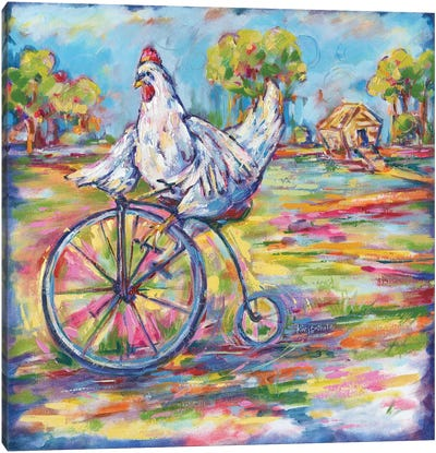 Tour De Coop Chicken Canvas Art Print