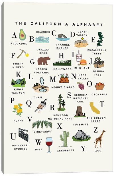 California Alphabet Canvas Art Print