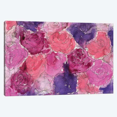 Pink Roses Canvas Print #KHR107} by Kahri Art Print
