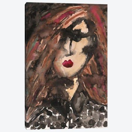 Polka Dot Girl Canvas Print #KHR108} by Kahri Canvas Wall Art