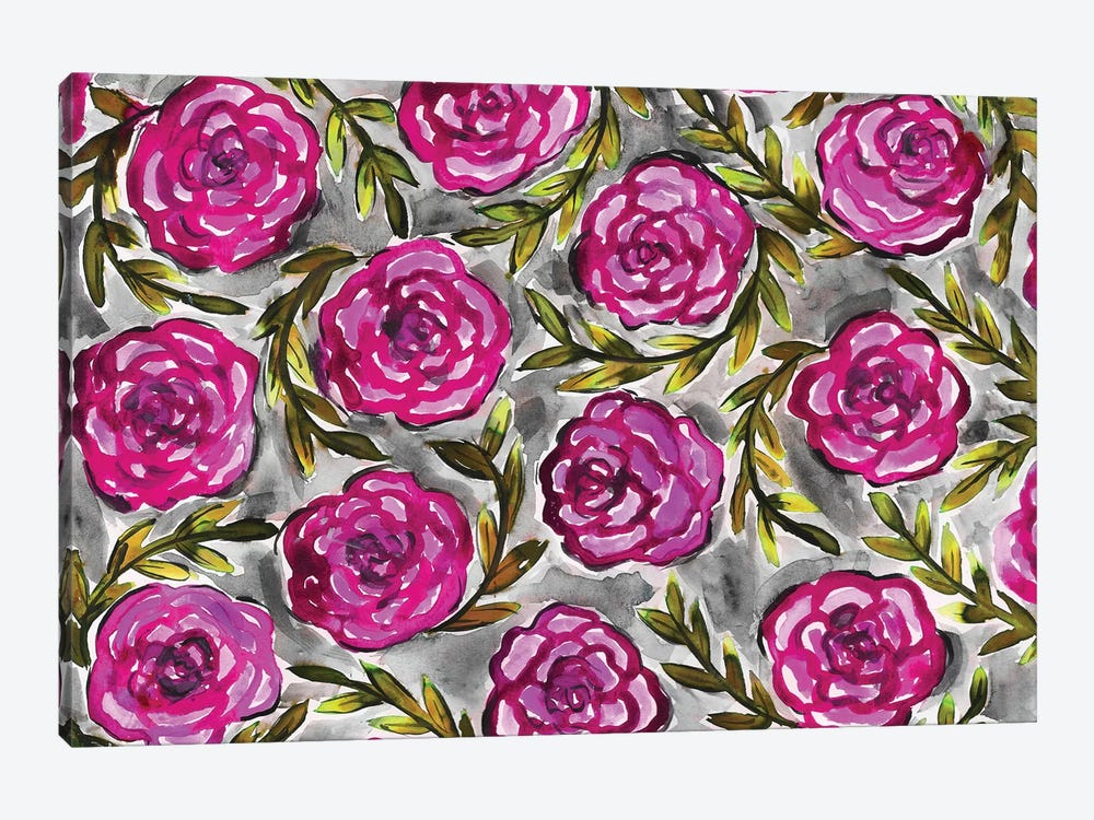 Purple Roses & Leaves by Kahri 1-piece Art Print