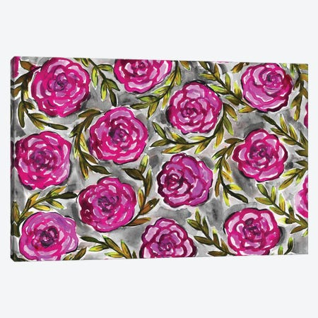 Purple Roses & Leaves Canvas Print #KHR117} by Kahri Canvas Art