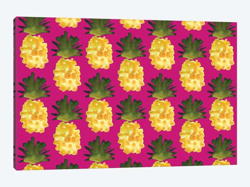 Yellow Pineapples On Fuchsia by Kahri 1-piece Canvas Art
