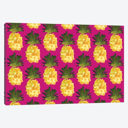 Yellow Pineapples On Fuchsia 3-Piece Canvas #KHR134} by Kahri Canvas Artwork