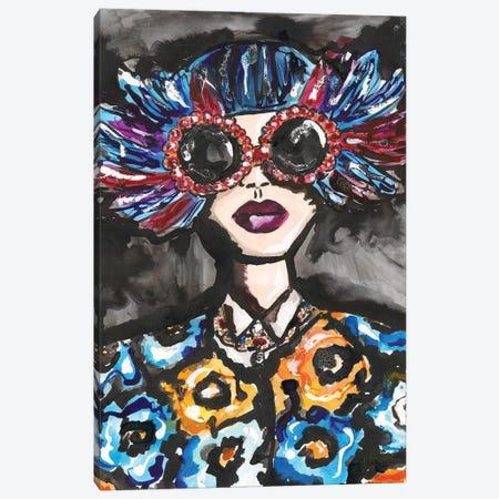 Blue Feather Sunglasses Canvas Print #KHR151} by Kahri Canvas Print