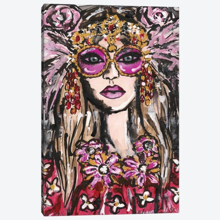 Dolce Pink Feather Sunglasses Canvas Print #KHR155} by Kahri Canvas Artwork