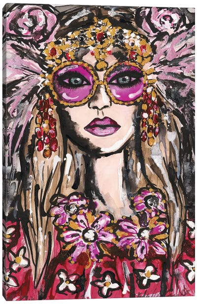 Dolce Pink Feather Sunglasses Canvas Art Print