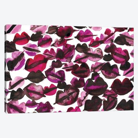 Black Pink Lips Canvas Print #KHR177} by Kahri Canvas Artwork